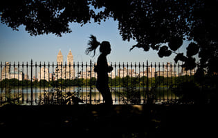 Girl running around Central Park