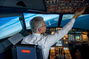 Airline Pilot is approaching New York in his simulator